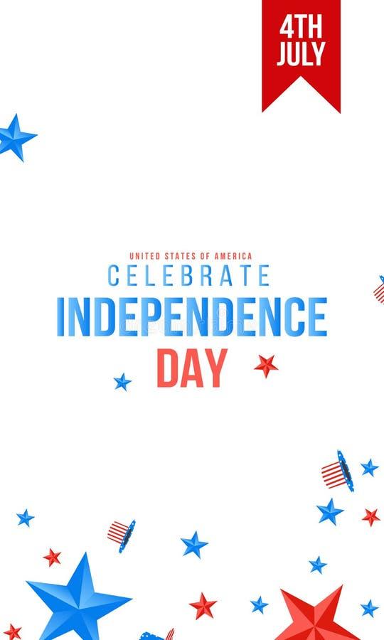 Quarto de julho 4o da bandeira do feriado de julho Bandeira do Dia da Independ?ncia dos EUA para a venda, o disconto, a propagand ilustração royalty free