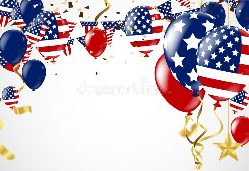 Quarto de julho 4o da bandeira do feriado de julho molde do cartão, crachá ilustração do vetor