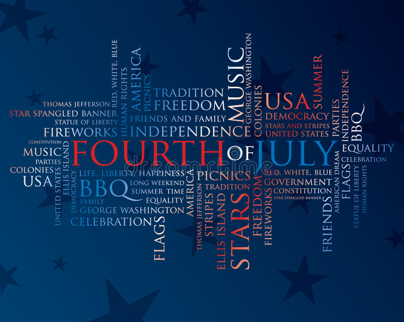 Quarto de palavras de julho ilustração do vetor