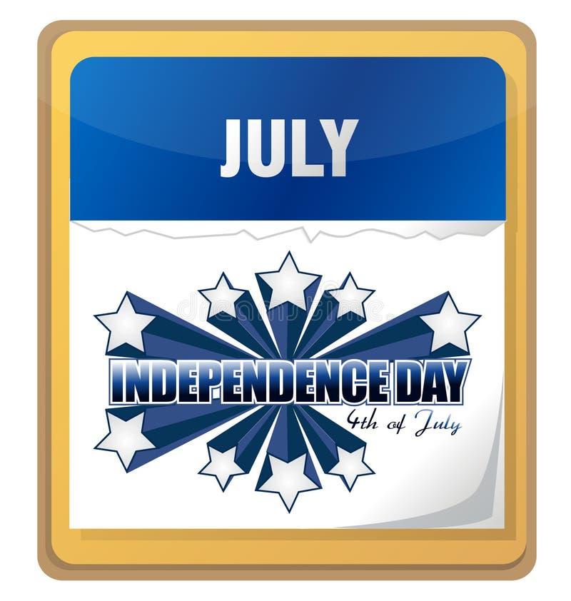 quarto del calendario della priorità bassa di festa dell'indipendenza di luglio illustrazione di stock