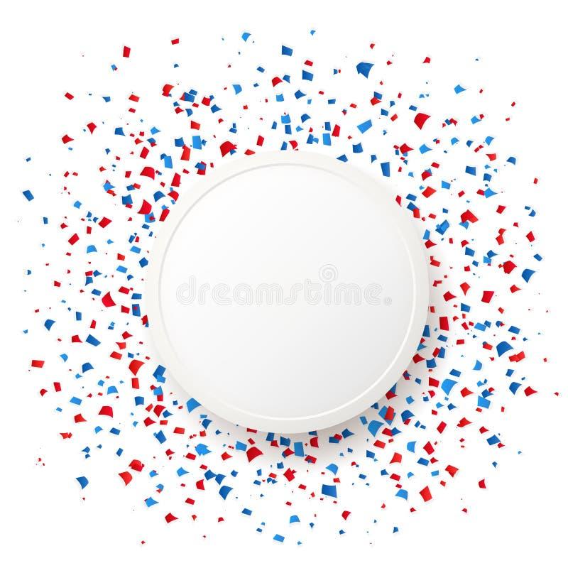 quarto del fondo di celebrazione di festa dell'indipendenza di luglio Coriandoli e cornice di testo blu e rossi con ombra su bian royalty illustrazione gratis