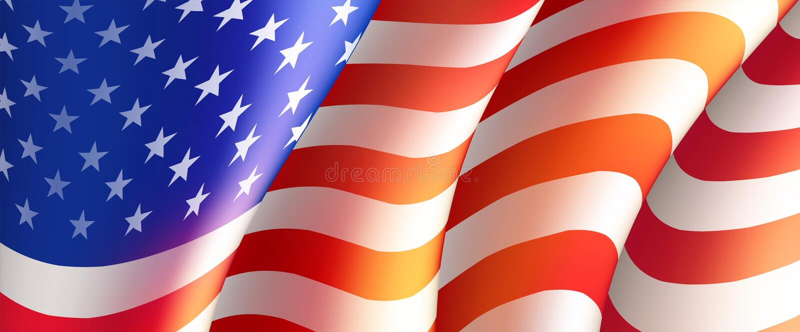 Quarto del manifesto di festa dell'indipendenza di luglio o del modello della carta con la bandiera americana Illustrazione di ve royalty illustrazione gratis