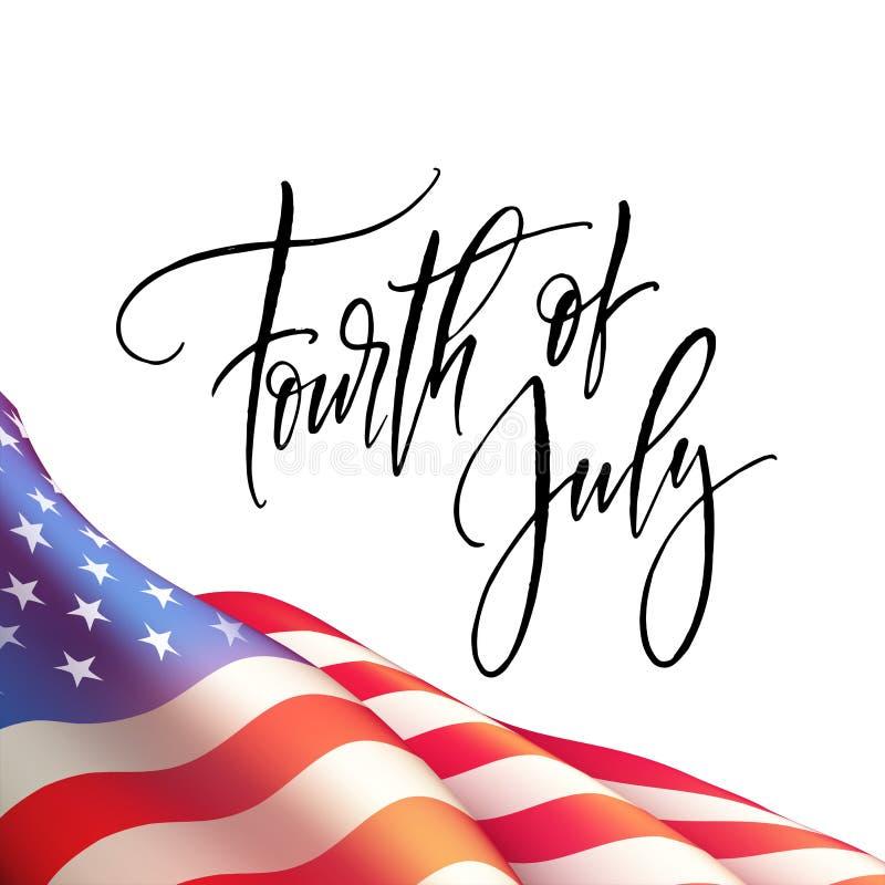 Quarto del manifesto di festa dell'indipendenza di luglio o del modello della carta con la bandiera americana Illustrazione di ve illustrazione di stock
