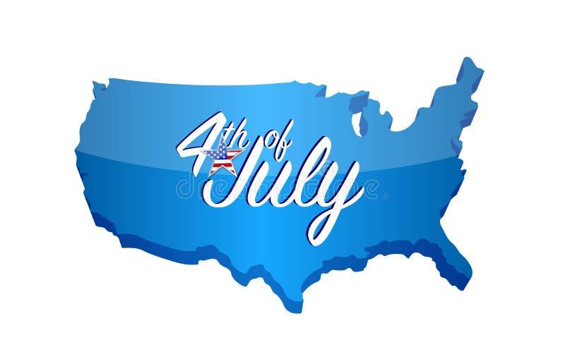 quarto del segno della mappa di luglio Illustrazione di vettore illustrazione vettoriale