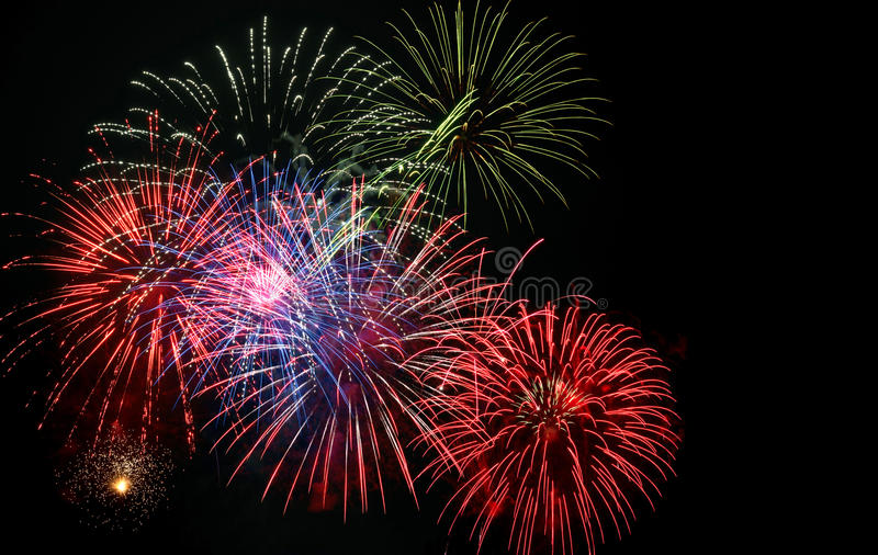 quarto dell'esposizione dei fuochi d'artificio di luglio fotografia stock libera da diritti