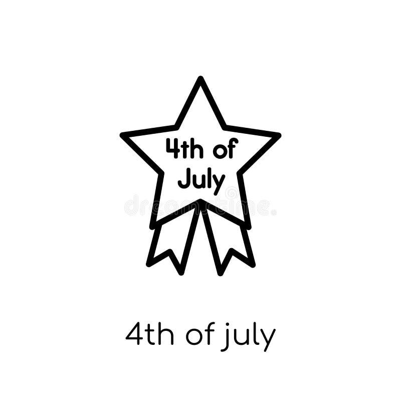 quarto dell'icona di luglio Vettore lineare piano moderno d'avanguardia il quarto luglio i illustrazione di stock