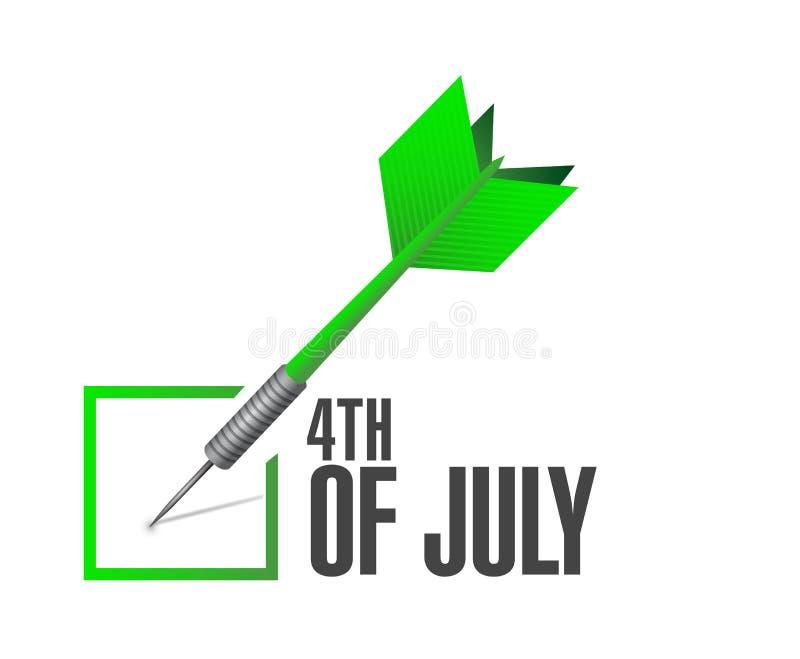 quarto dell'illustrazione di concetto del segno del dardo del controllo di luglio illustrazione di stock