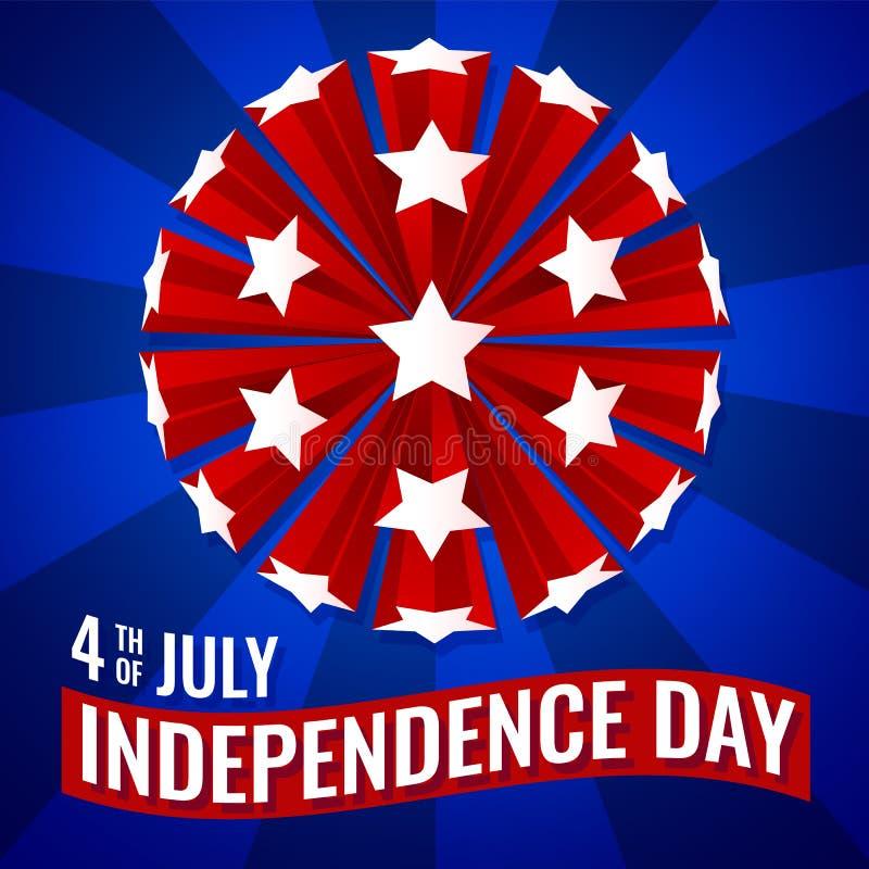 quarto dell'illustrazione di vettore della carta da parati dell'insegna di festa dell'indipendenza di luglio royalty illustrazione gratis