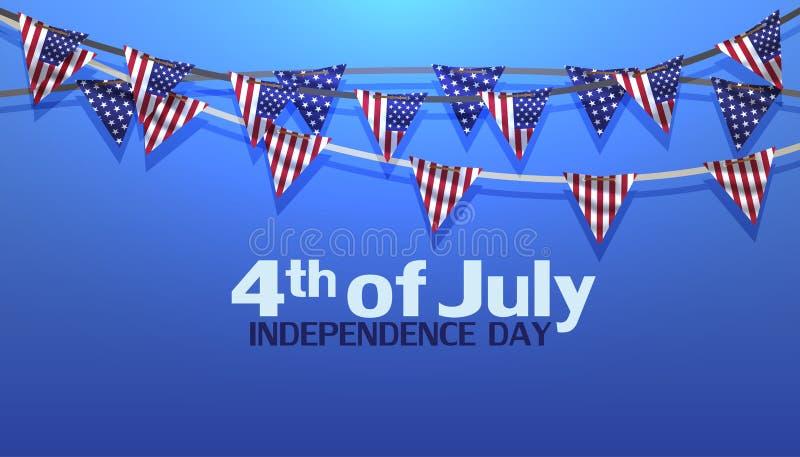 quarto dell'illustrazione dell'insegna di vendita di vettore di U.S.A. di festa dell'indipendenza di luglio illustrazione di stock