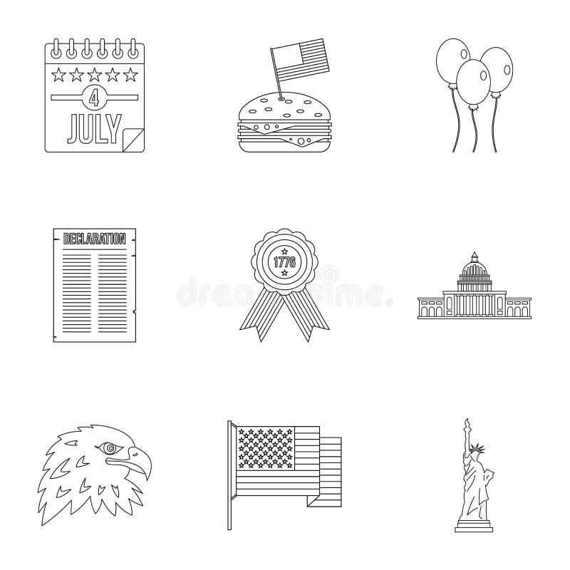 Quarto dell'insieme dell'icona di giorno di luglio, stile del profilo illustrazione di stock