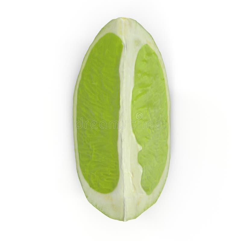 Quarto della calce isolato sull'illustrazione bianca del fondo 3D fotografia stock libera da diritti