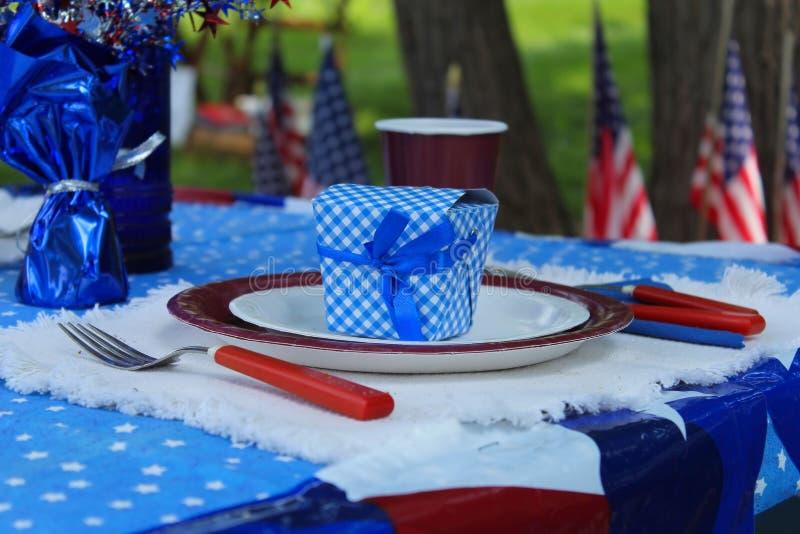 quarto della celebrazione all'aperto di picnic di luglio immagini stock