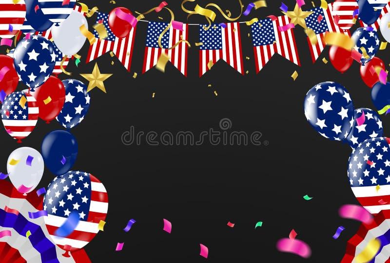 quarto della festa dell'indipendenza luglio di S.U.A., del modello di vettore con la bandiera americana e dei palloni colorati su royalty illustrazione gratis