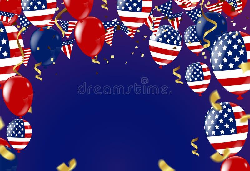 quarto della festa dell'indipendenza luglio di S.U.A., del modello di vettore con la bandiera americana e dei palloni colorati su illustrazione vettoriale