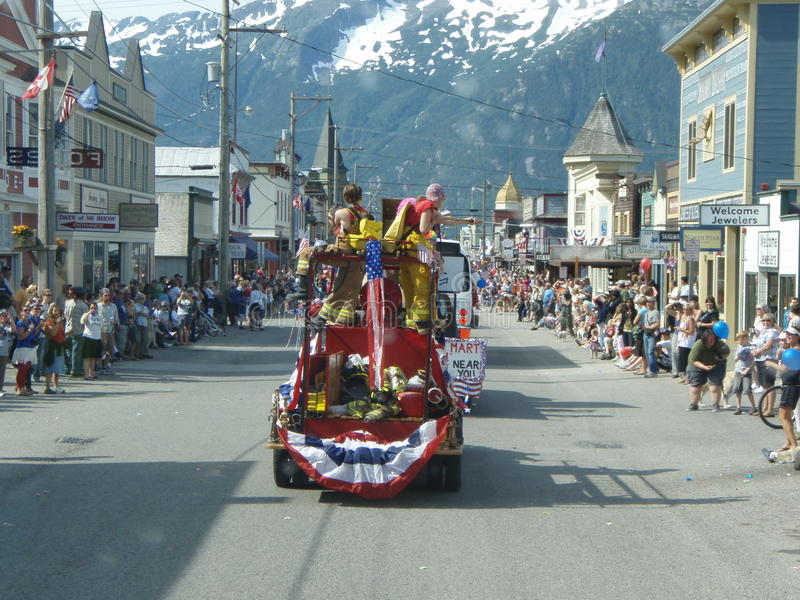 quarto della parata Skagway Alaska di luglio fotografia stock libera da diritti