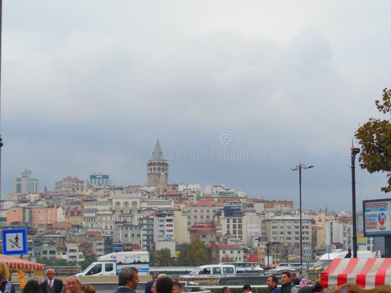 Quarto di Karakoy della torre di Galata e di Costantinopoli fotografie stock