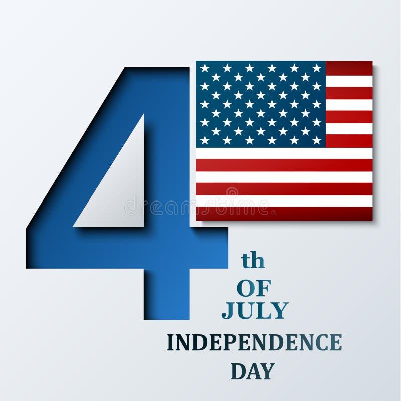 Quarto di luglio Festa dell'indipendenza americana Illustrazione di vettore con la bandiera di U.S.A. per l'insegna o il manifest illustrazione di stock
