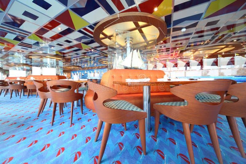 Quarto dinning do hotel com opinião geral do assoalho azul fotos de stock royalty free