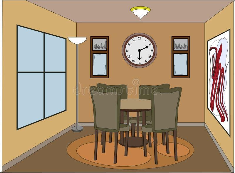 Quarto dinning ocasional com partes do acento ilustração stock