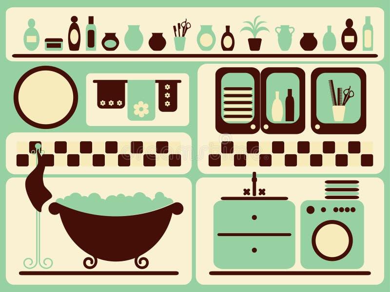 Quarto do banho e objetos do banho ajustados. ilustração royalty free