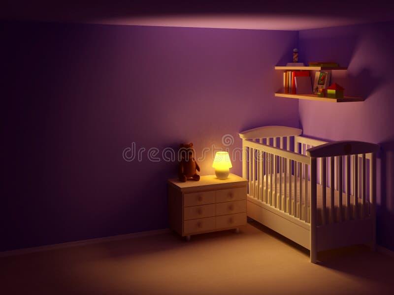 Quarto do bebê na noite ilustração royalty free
