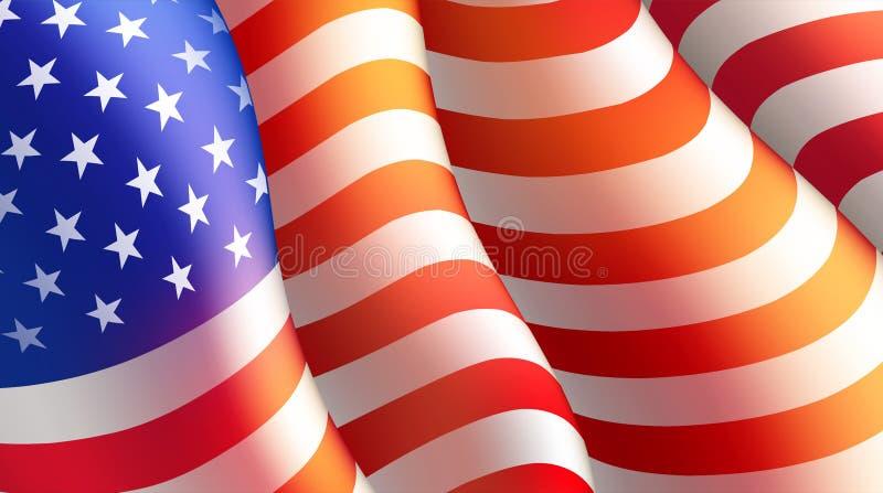 Quarto do cartaz do Dia da Independência de julho ou do molde do cartão com bandeira americana Ilustração do vetor ilustração do vetor