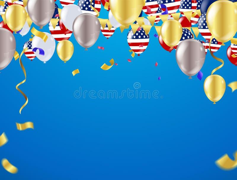 Quarto do Dia da Independência de julho Ilustração do vetor ilustração stock