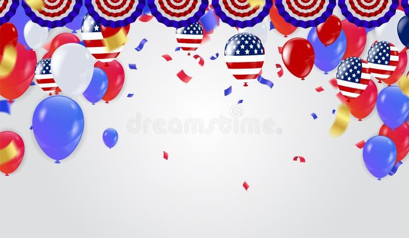 Quarto do Dia da Independência de julho Ilustração do vetor ilustração royalty free