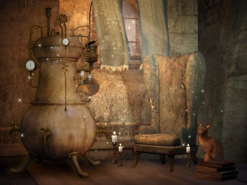 Quarto do feiticeiro com um gato ilustração do vetor