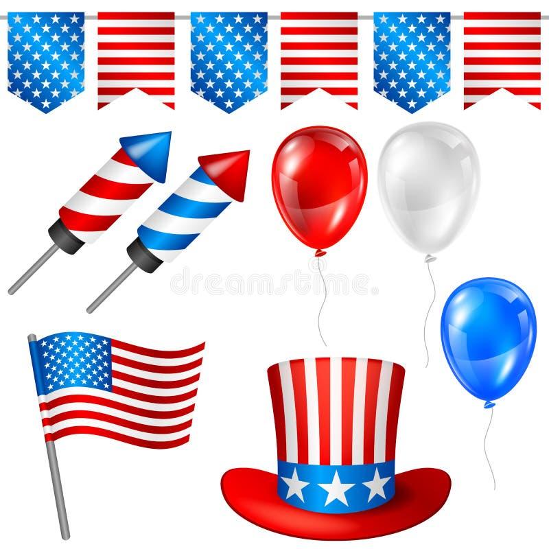 Quarto do grupo de símbolos do Dia da Independência de julho Ilustração patriótica americana ilustração do vetor