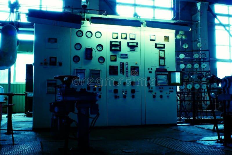 Quarto do operador na central energética fotografia de stock