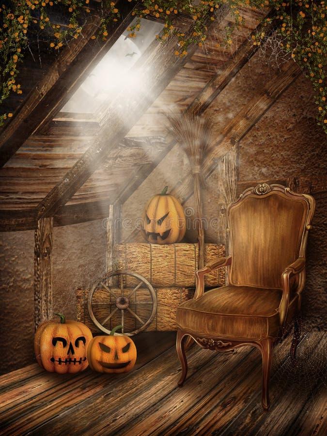 Quarto do sótão com decorações de Halloween ilustração royalty free