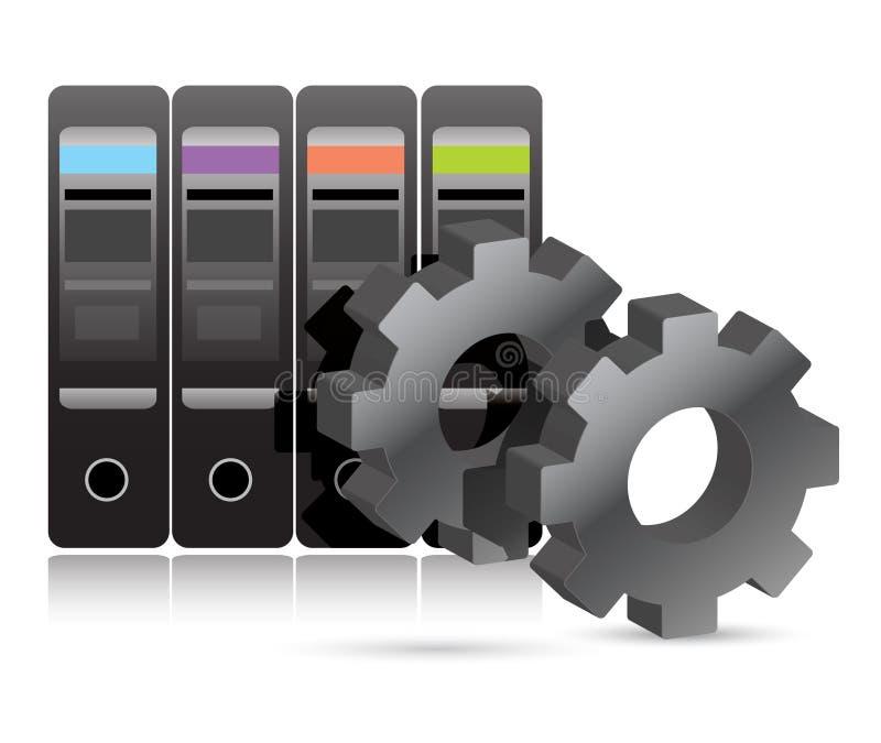 Quarto do server com ilustração industrial das engrenagens ilustração stock