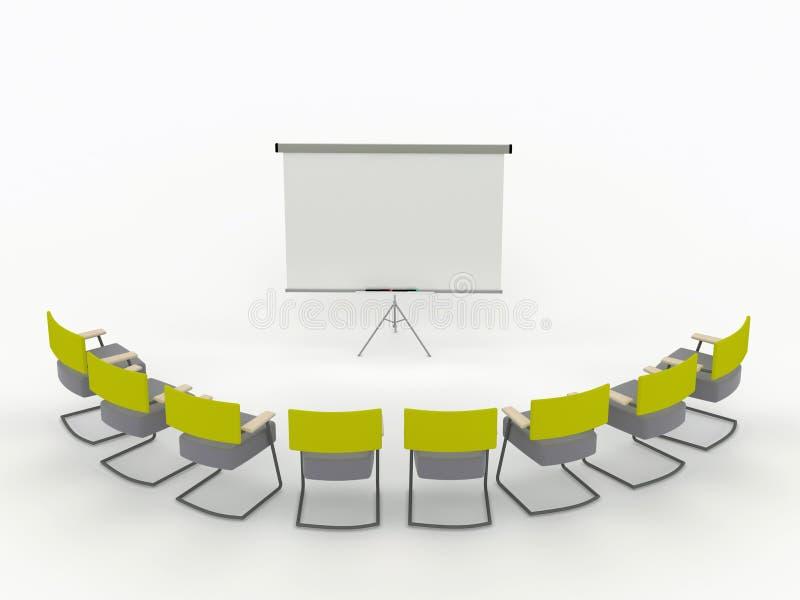 Quarto do treinamento com placa e cadeiras do marcador ilustração do vetor
