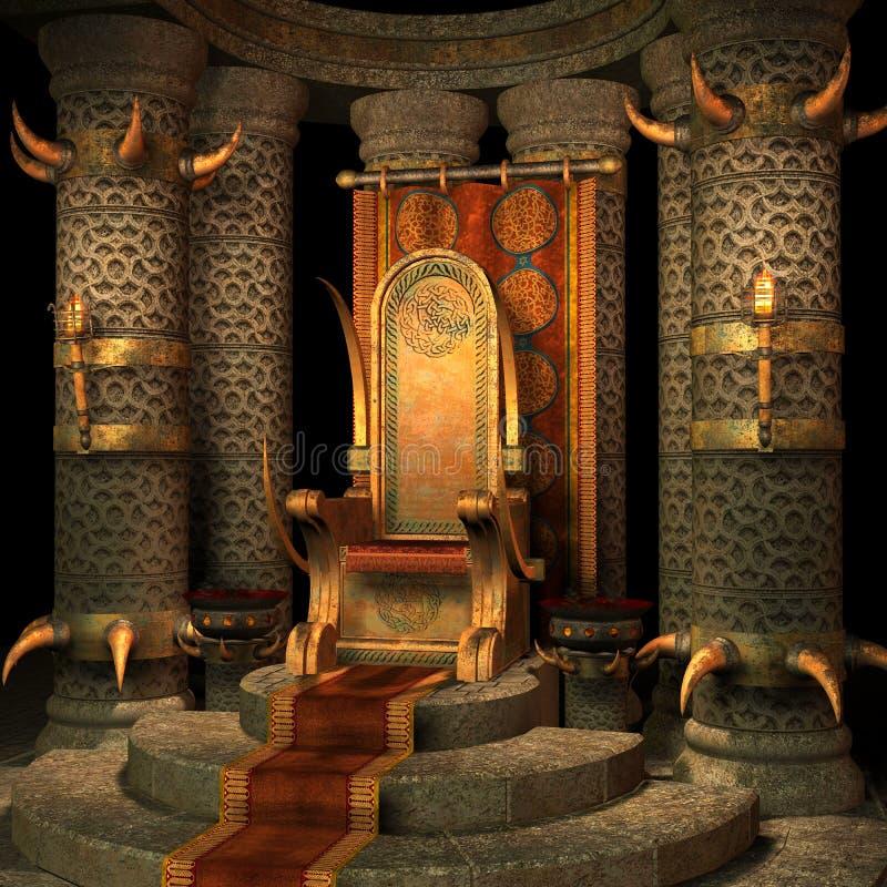 Quarto do trono da fantasia ilustração royalty free