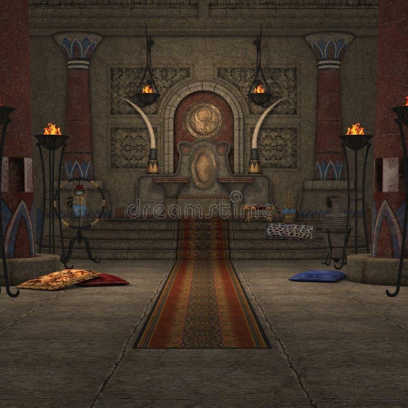 Quarto do trono da fantasia ilustração stock