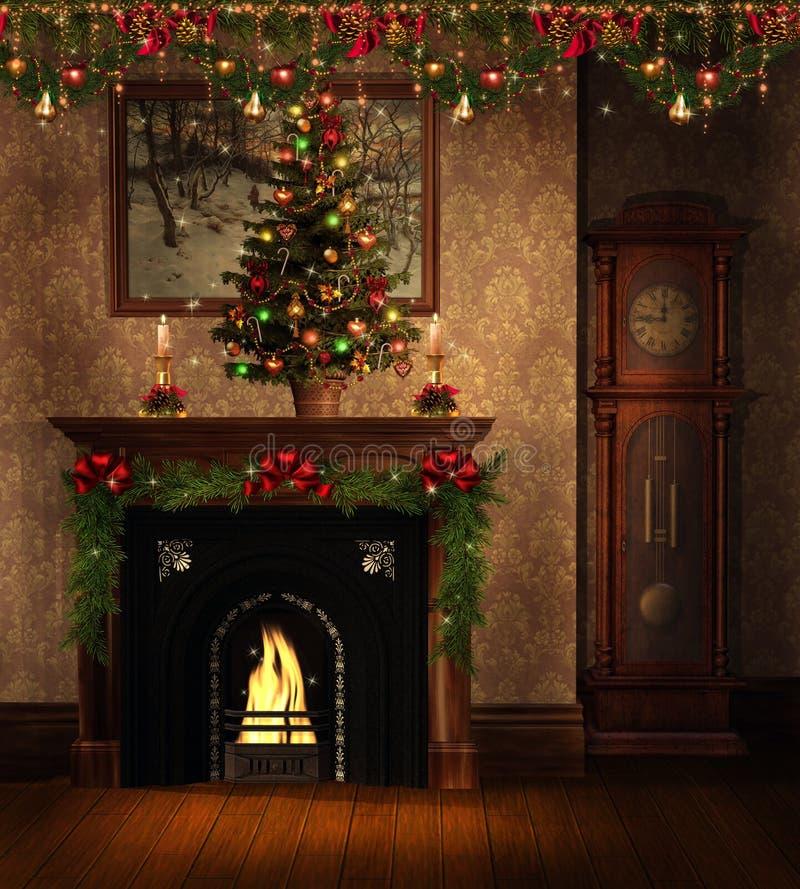 Quarto do vintage com decorações do Natal ilustração royalty free