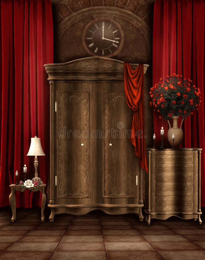 Quarto do vintage com um wardrobe ilustração royalty free