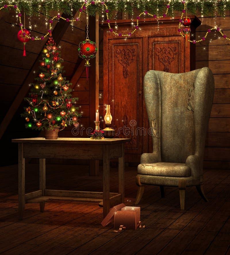 Quarto do vintage com uma árvore de Natal ilustração do vetor