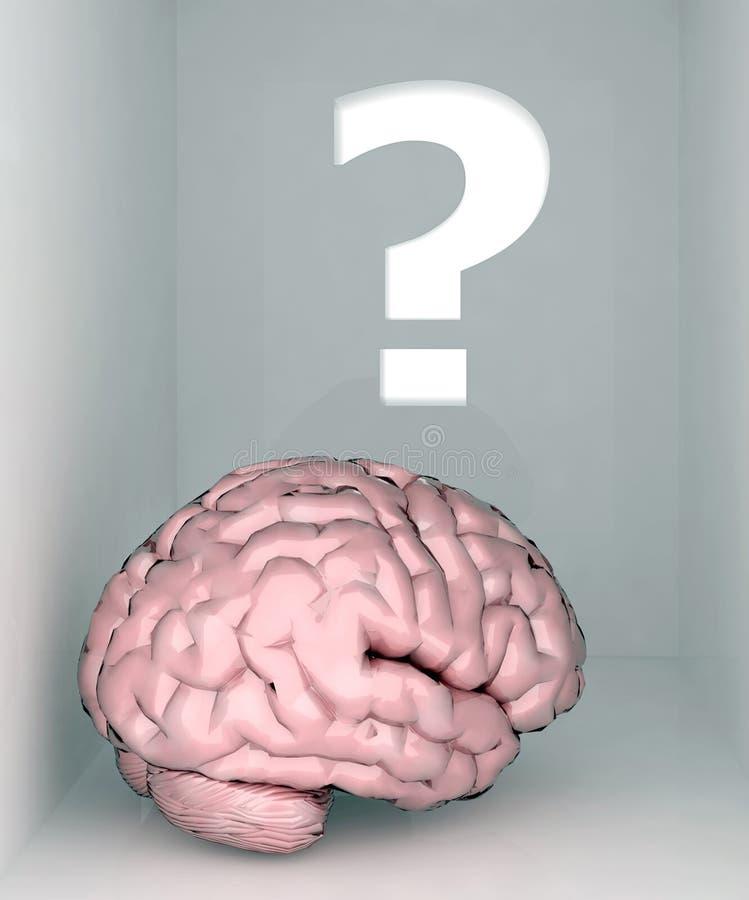 Quarto e ponto de interrogação do cérebro ilustração stock