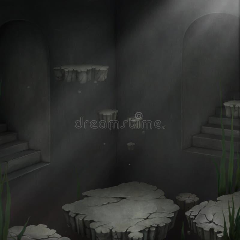Quarto escuro com consoles de flutuação ilustração do vetor
