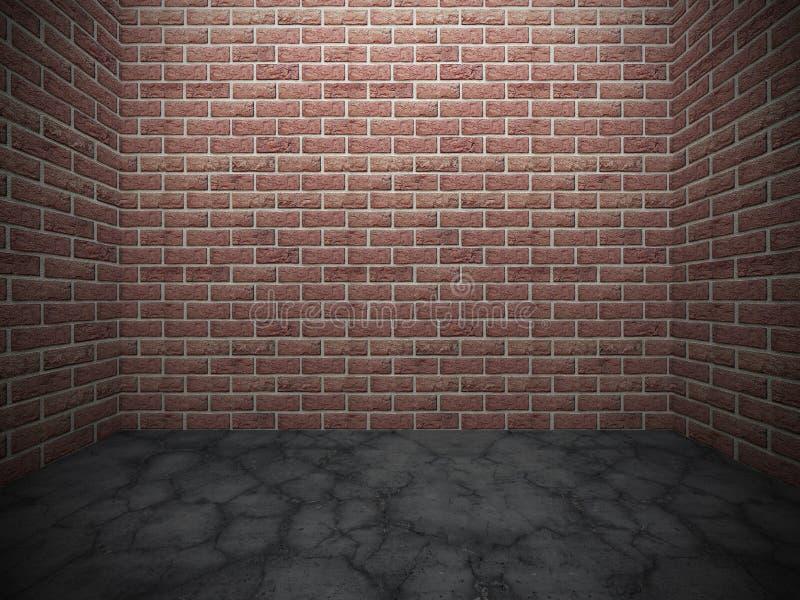 Quarto escuro vazio Parede de tijolo, assoalho concreto Arquitetura do Grunge ilustração do vetor