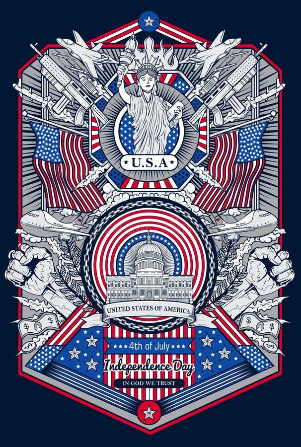 Quarto felice della struttura d'annata della festa dell'indipendenza di luglio degli Stati Uniti d'America illustrazione vettoriale