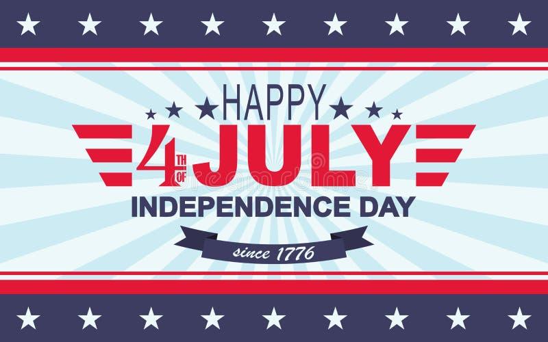Quarto felice di vettore del fondo di luglio Festa dell'indipendenza di U Modello per il quarto di luglio illustrazione vettoriale