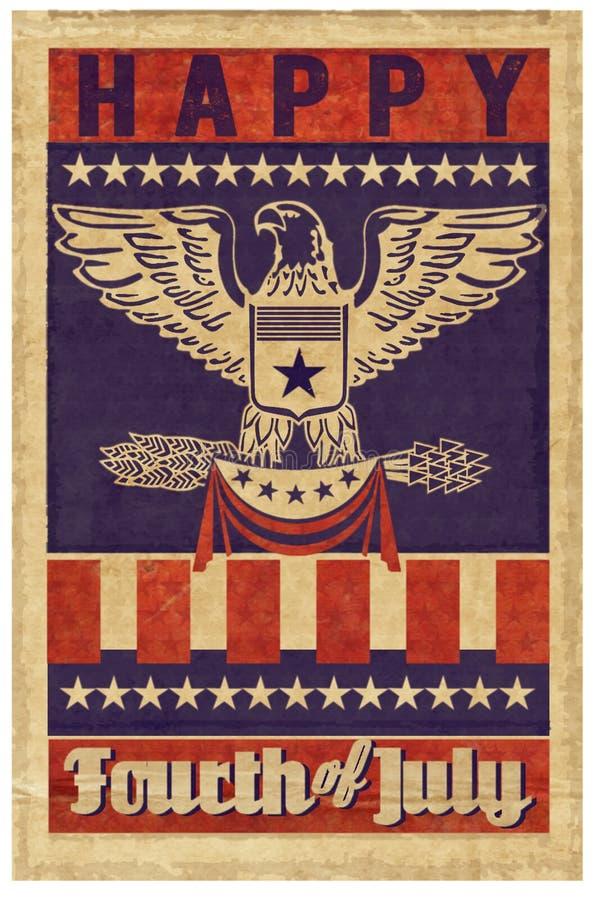 Quarto feliz do cartaz do selo de julho ilustração royalty free