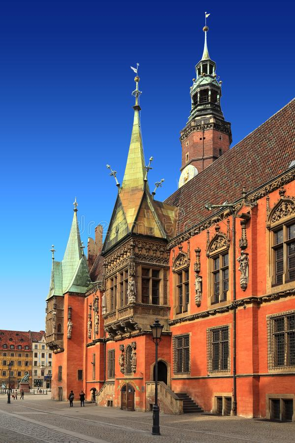 Quarto histórico de Wroclaw, Polônia - cidade e mercado velhos Squa fotos de stock