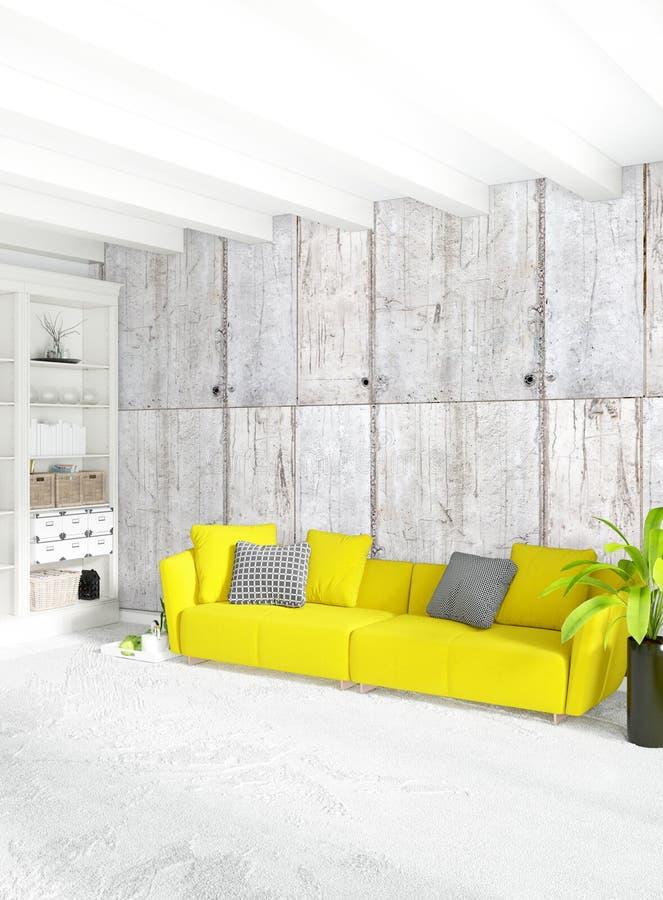 Quarto interior ou sala de visitas do sótão moderno com a parede eclético com espaço rendição 3d ilustração do vetor