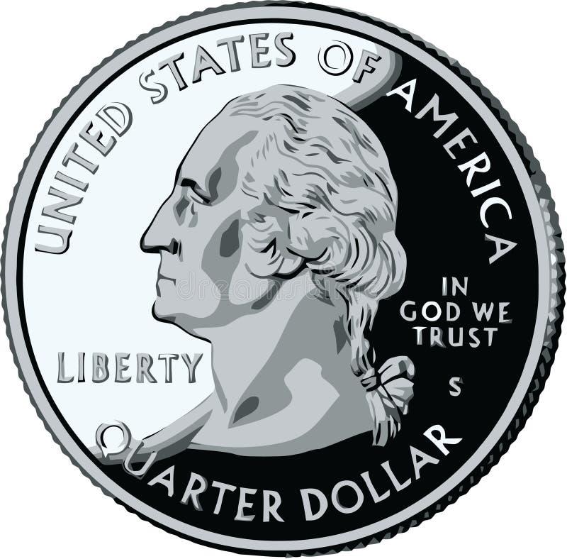 Quarto isolado de Estados Unidos - illustrat do vetor ilustração stock