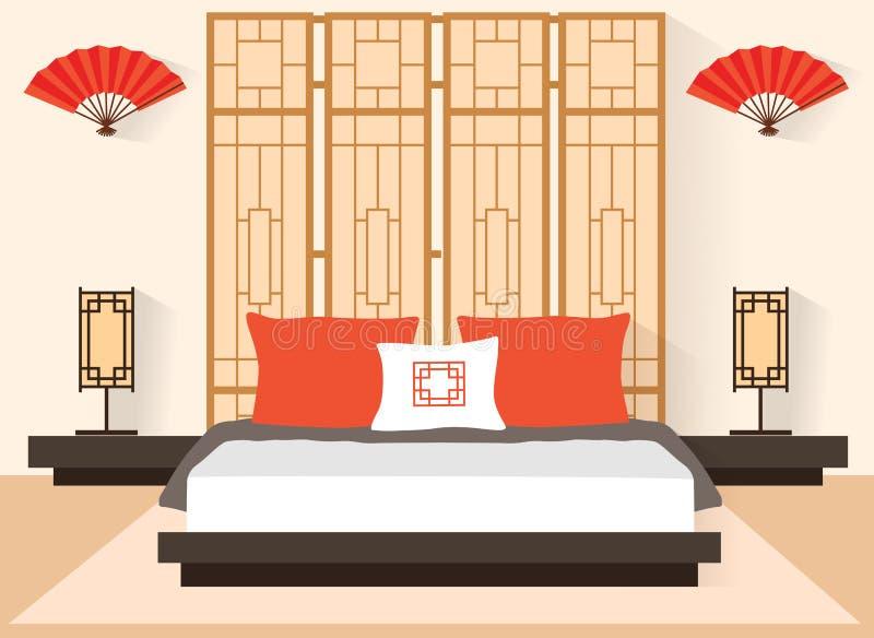Quarto japonês no estilo liso Sala interior do vetor com mobília e uma cama ilustração stock
