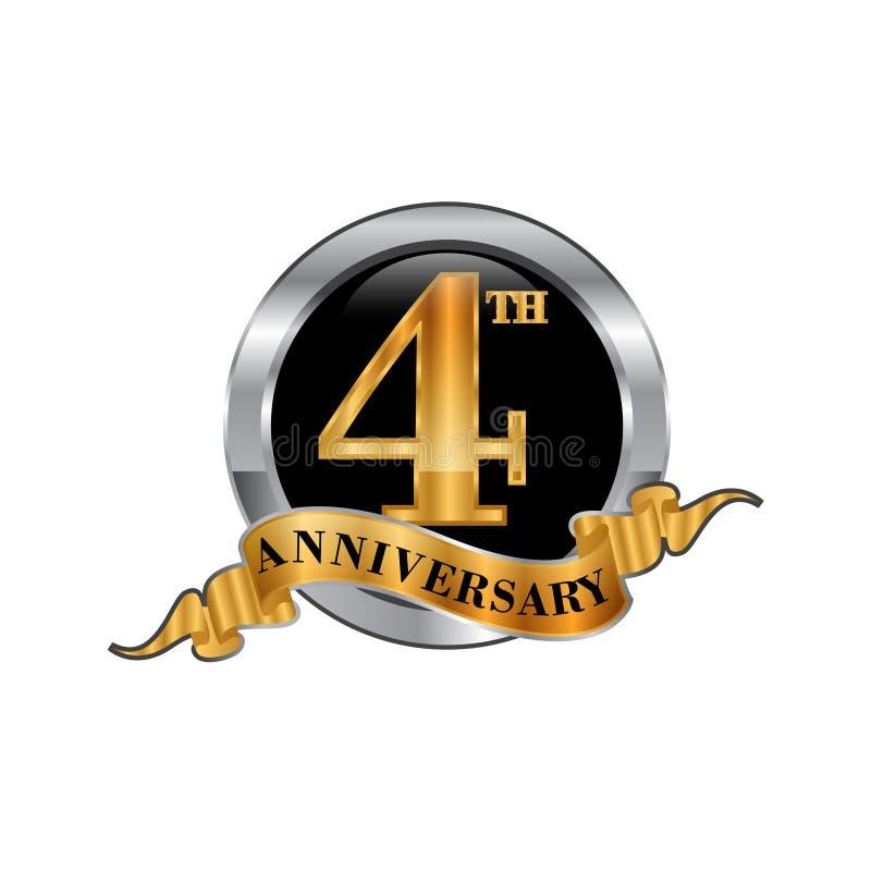quarto logo dell'icona di anniversario di anni Elemento di disegno grafico illustrazione di stock